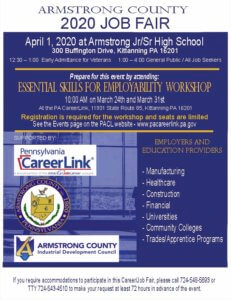 Armstrong County 2020 Job Fair Prepare event. @ PA CareerLink